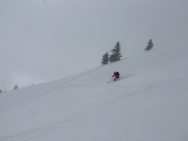 ダイナミックに新雪滑走