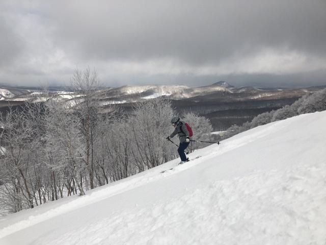 安定、確実なスキーテクニックで急斜面も安定。